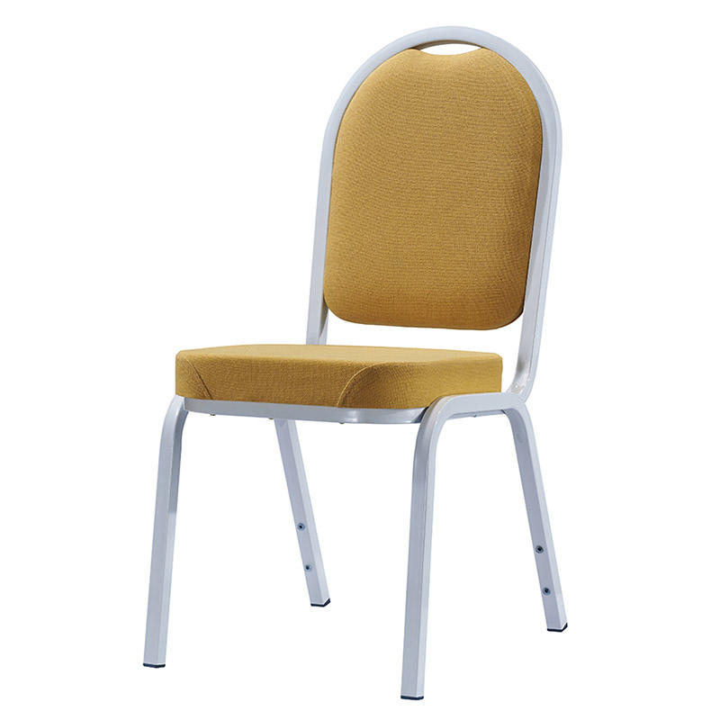 Round Yellow Upholstered White Painting Aluminum Stackable Chair YD-1022
