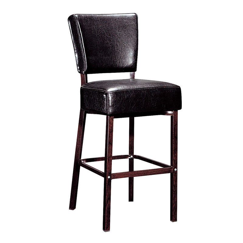 BLACK PU LEATHER METAL BAR STOOL FOR HOTEL PUB COFFEE SHOP #YA-2014