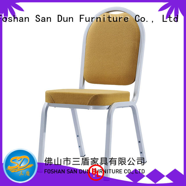 white upholstered stackable San Dun Brand aluminium dining chairs manufacture