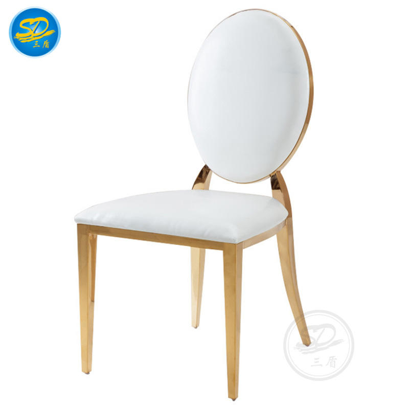 WHITE PU LEATHER STAINLESS STEEL CHAIR FOR HOTEL BANQUET WEDDING FUNCTION YS-005
