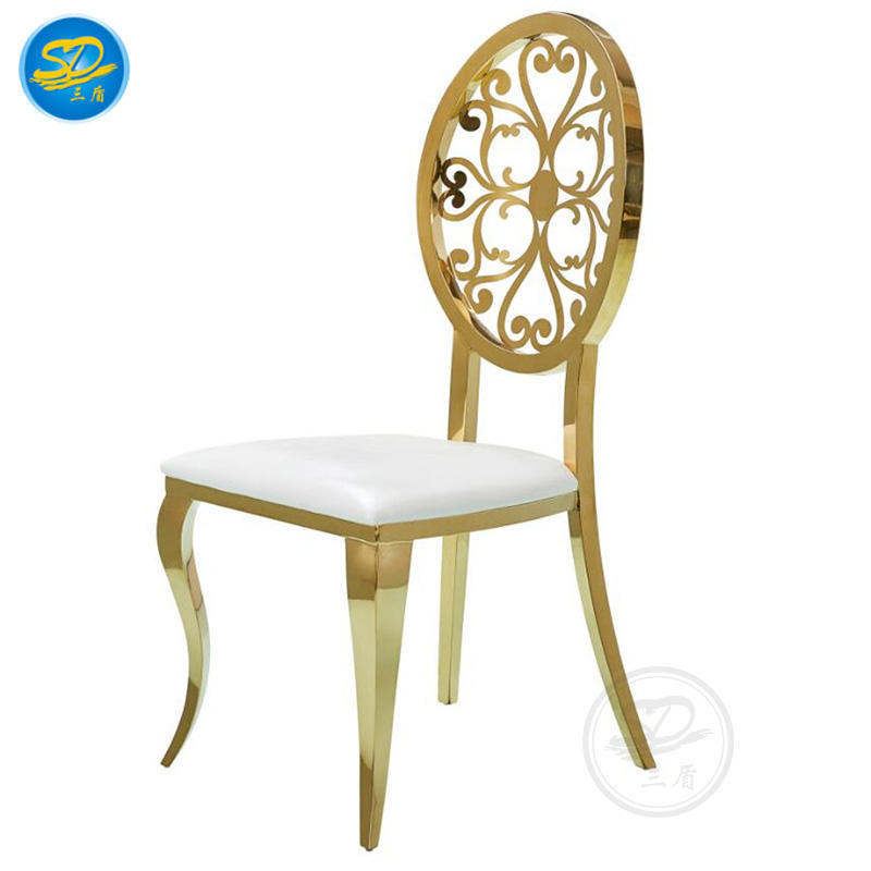 GOLDEN STAINLESS STEEL WHITE LEATHER HOTEL BALLROOM LUXURY PARTY STACKING CHAIR  YS-010