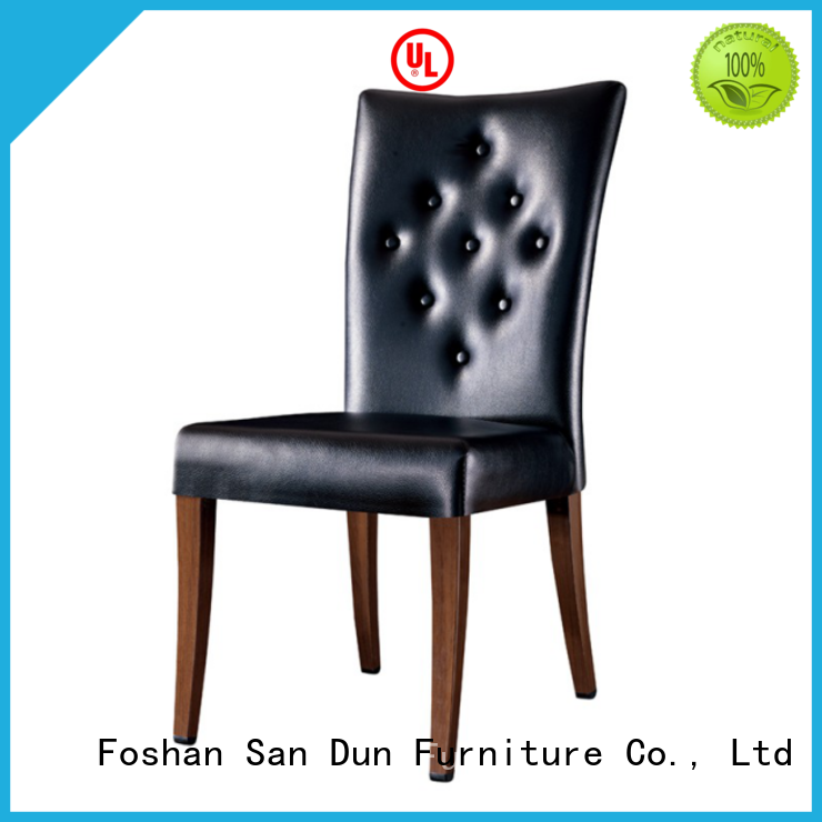 San Dun stainless wood upholstered dining chairs China for wedding