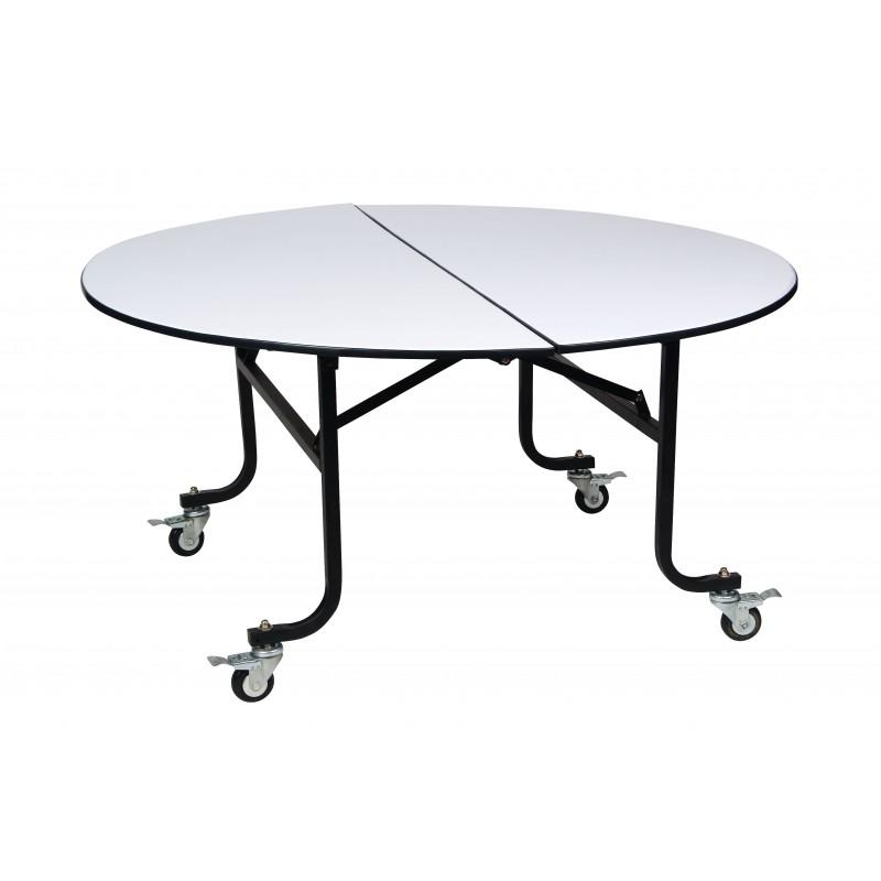 Round Folding Half-Moon Table Movable Wheels Design  YF-002