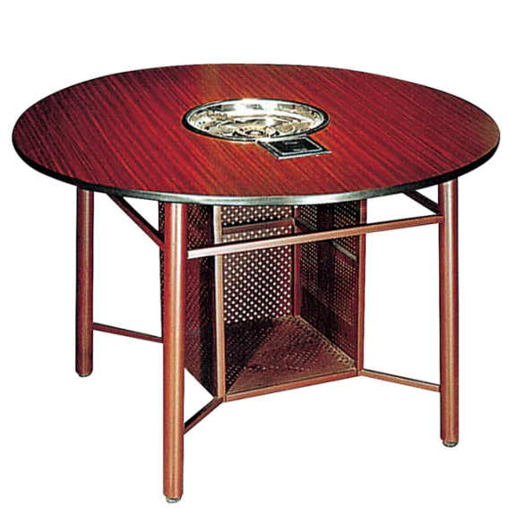 Strong Steel Frame Laminate Hotel Banquet Restaurant Round  Hot Pot Table YF-017-2