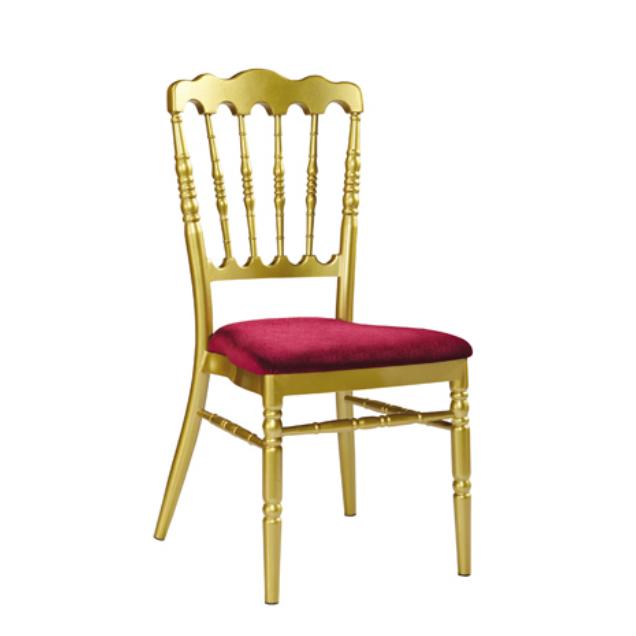 Velvet Upholstered Golden Banquet Wedding Event Napoleon Stacking Chair YC-013