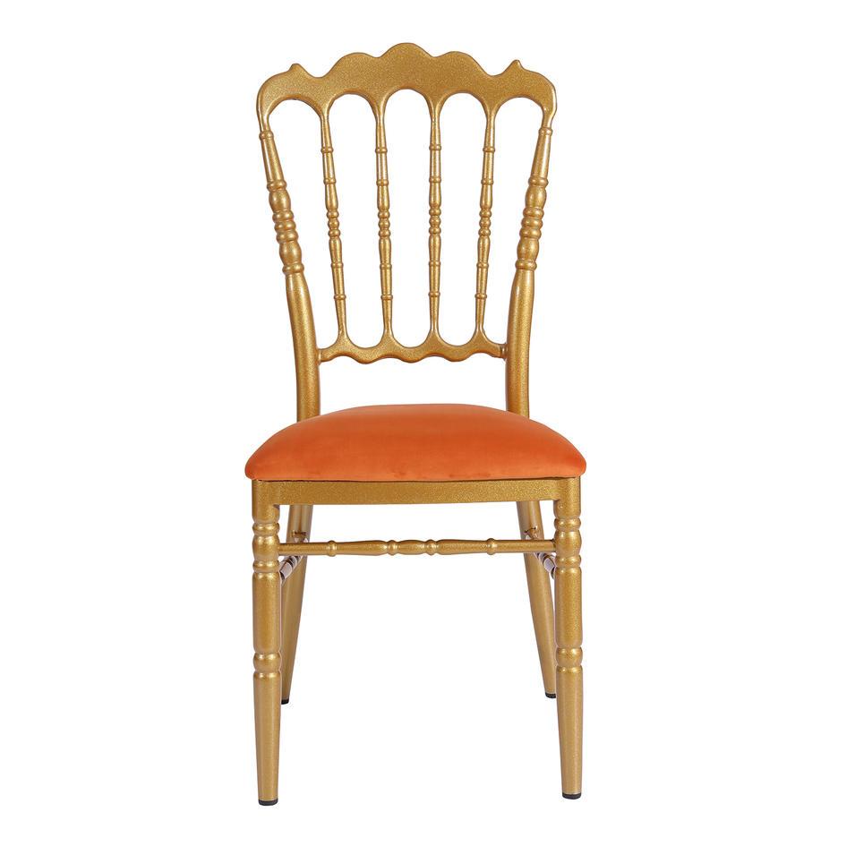 Hot Sale Orange Velvet Upholstered Gold Painting Aluminum Hotel Banquet Wedding Napoleon Chair YC-019