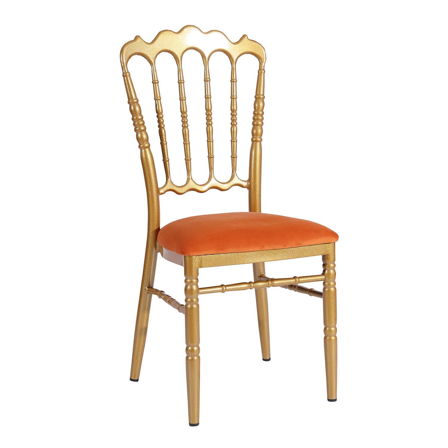 Hot Sale Orange Velvet Upholstered Gold Painting Aluminum Hotel Banquet Wedding Napoleon Chair YC-019