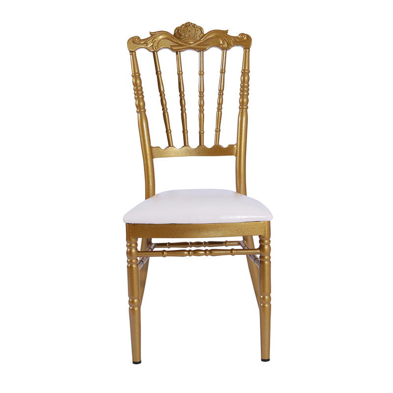 Noble Crown Royal Design Gold Painting Aluminum Luxury Banquet Wedding Event Party Hall Napoleon Chair   YC-021