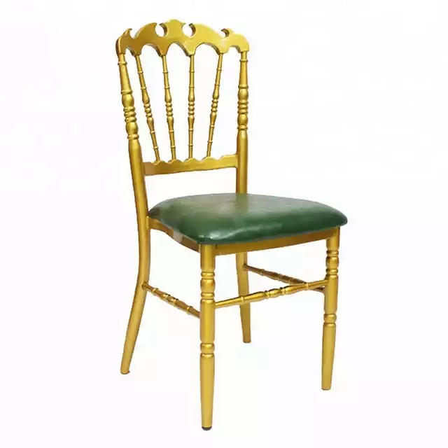 Flame Top Design Golden Paint Green PU Leather Upholstered Banquet Party Hall Metal Napoleon Chair YC-029