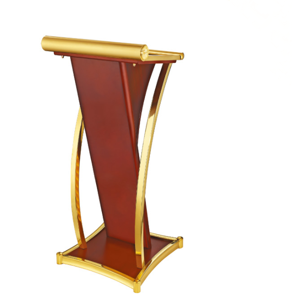 Golden Painting Hotel Conference Room Stainless Steel Wooden Rostrum-D
