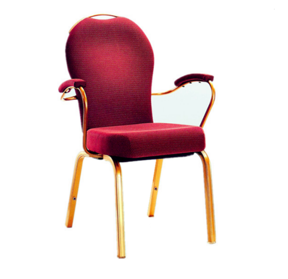 Red Upholstered Hotel Banquet Conference Room Rocking Back Aluminum Armrest Chair #YB-007