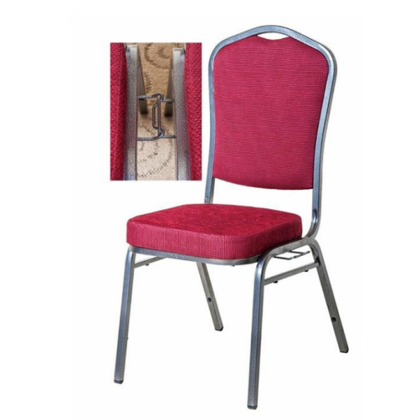 Hot Sale Iron Chair Stacking Red Fabric Hotel Party Chair YE-004