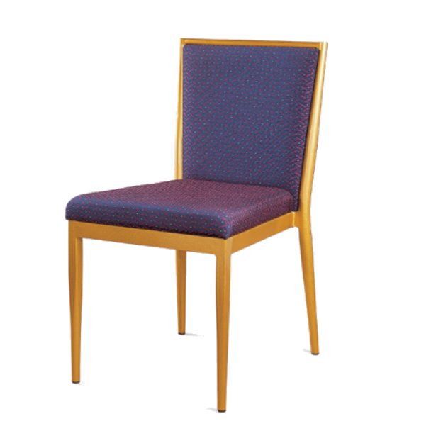 Square Seat Golden Steel Stacking Chair YE-036