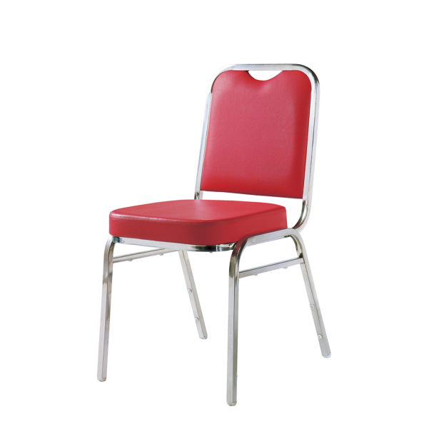 Red PU Leather Chrome Banquet Meeting Room Steel Iron Stackable Chair YE-038