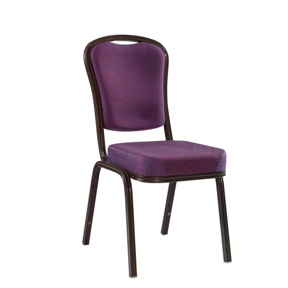 Purple Fabric Unique Seat Aluminum Chair Hospitality Reception Stack Chair YD-030