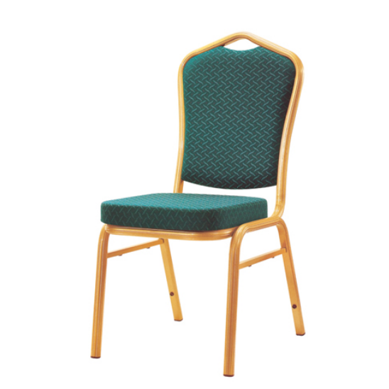 Wedding Reception Green Fabric Chair Aluminum Stackable Chair YD-070