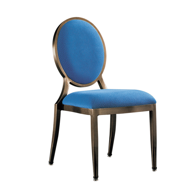 Hot Sale Navy Blue Upholstered Round Back Aluminum Restaurant Event Chair YD-087