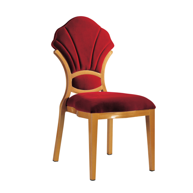 Red Upholstered High Back Aluminum Chair Dining Room Chair YD-088