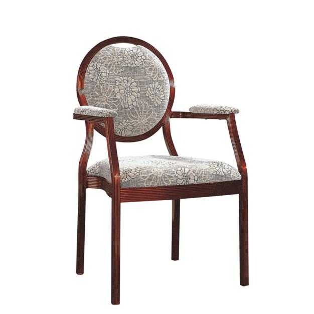 Round Back Comfortable Aluminum Hotel Restaurant Armrest Chair YD-099