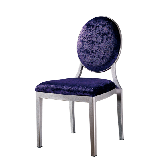 Purple Velvet Round Back Banquet Reception Aluminum Chair YD-1002