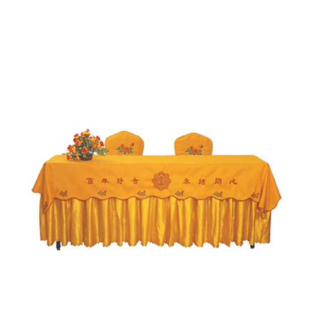 ANTIQUE YELLOW JACQUARD TABLE CLOTH BANQUET MEETING ROOM TABLE CLOTH A-002