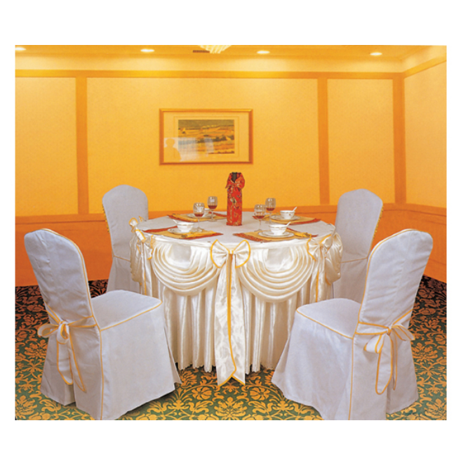 WHITE JACQUARD CHAIR COVER HOTEL RESTAURANT DECORATIONS TABLE CLOTH LT-003