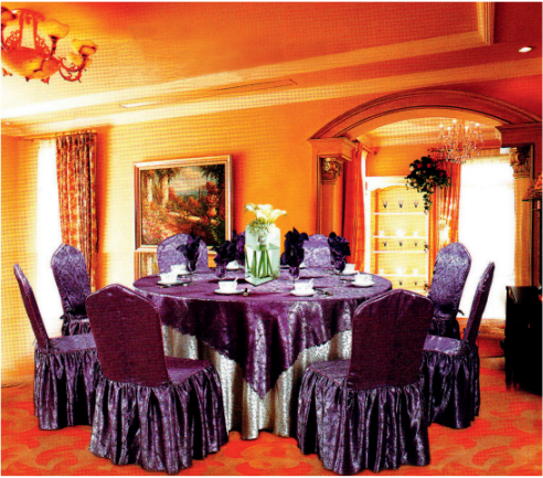 100% POLYESTER JACQUARD RUFFLED HOTEL BANQUET WEDDING UNIVERSAL CHAIR COVER Y-088