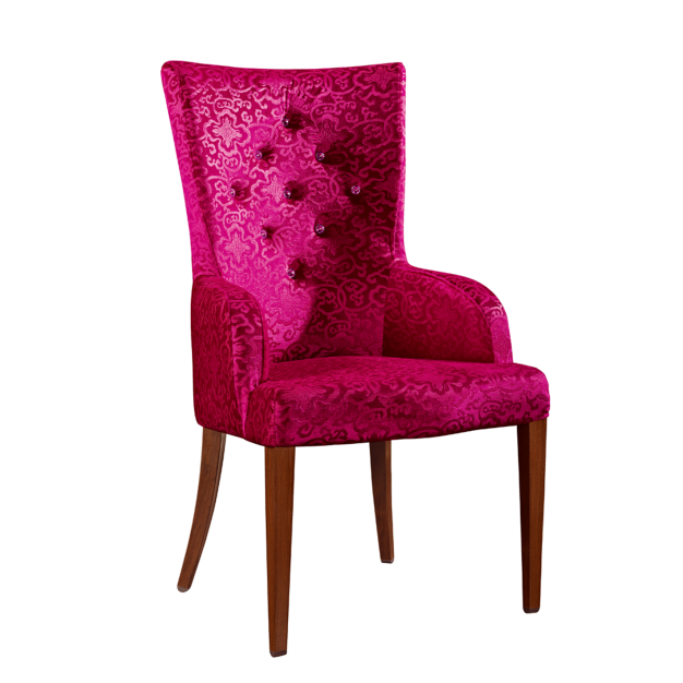 PURPLE VELVET BUTTON DESIGN UPHOLSTERED BANQUET STEEL WOODEN CHAIR  YA-069