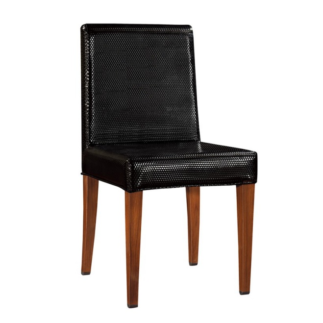 BLACK LEATHER IMITATION WOODEN STEEL CHAIR  YA-077