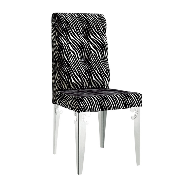 CHROME BLACK FABRIC STAINLESS STEEL CHAIR  YA-078