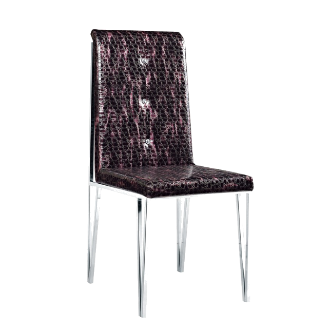 PU LEATHER BUTTON DESIGN STAINLESS STEEL CHAIR  YA-081