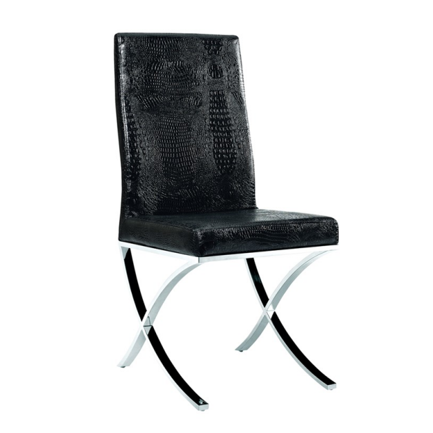 X SHAPE LEGS STAINLESS STEEL CHAIR BLACK LEATHER CHAIR  YA-083