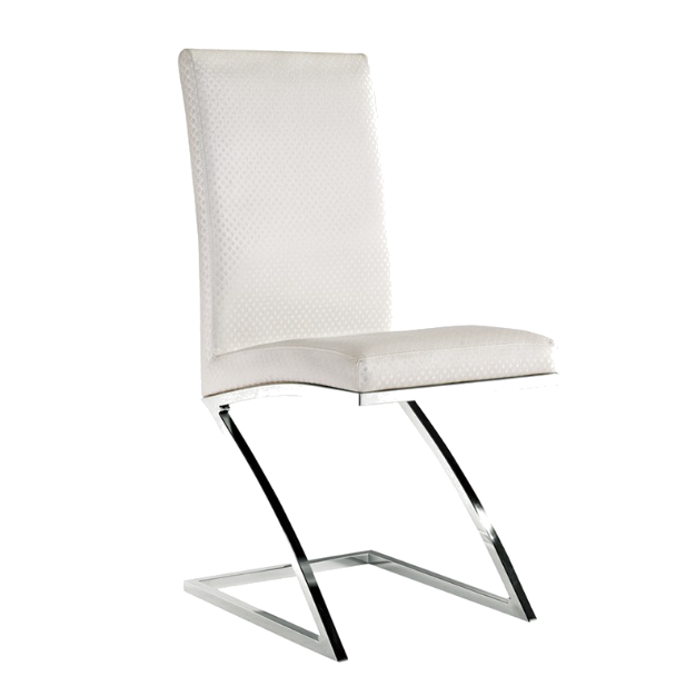 Z SHAPE LEGS STAINLESS STEEL CHAIR WHITE LEATHER CHAIR  YA-084