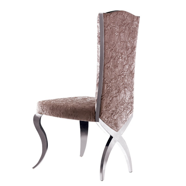 SOFT SEAT VELVET UPHOLSTERED STAINLESS STEEL CHAIR  YA-085