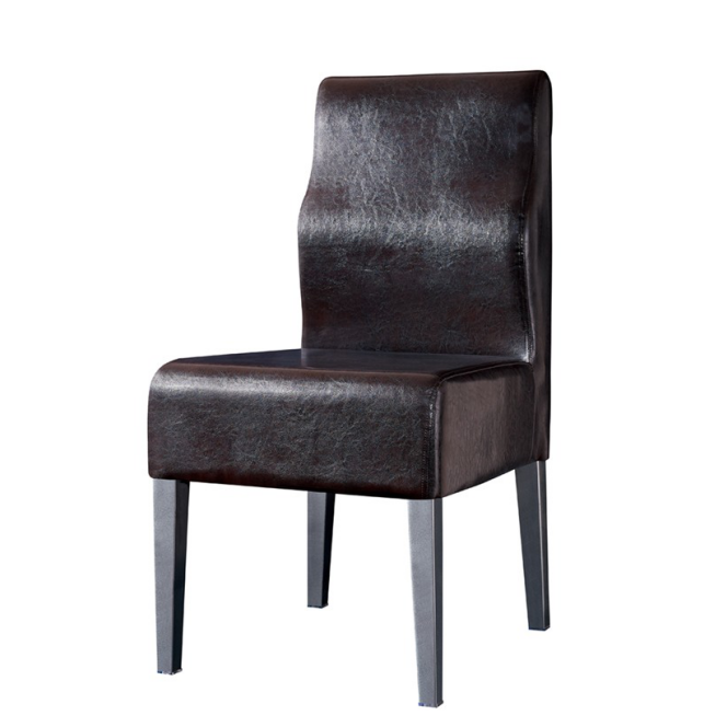 LEATHER UPHOLSTERED STEEL IMITATION WOODEN CHAIR YA-098