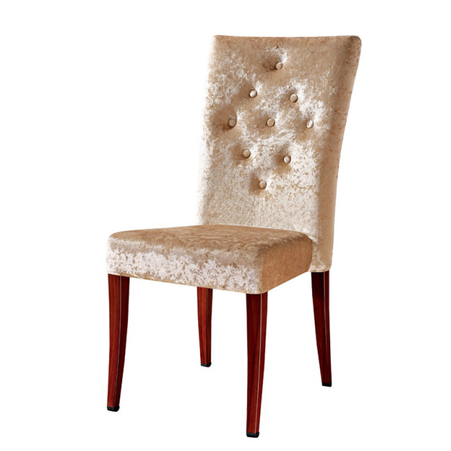 VELVET BUTTON DESIGN UPHOLSTERED STEEL DINING ROOM WOODEN CHAIR YA-1003