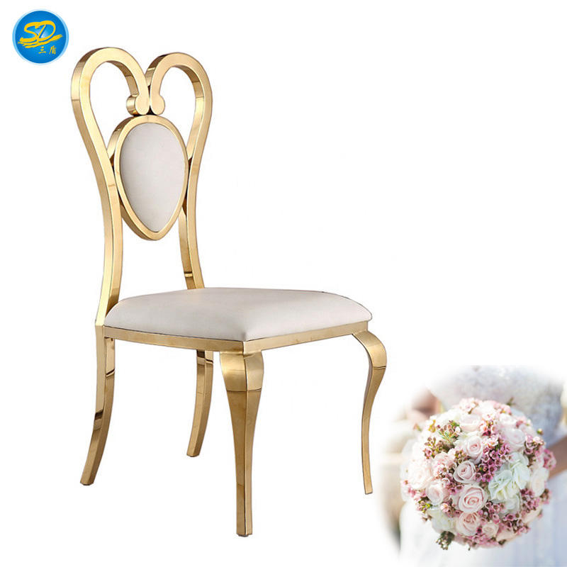 WHITE LEATHER WEDDING PARTY STAINLESS STEEL STACKING CHAIR YS-013