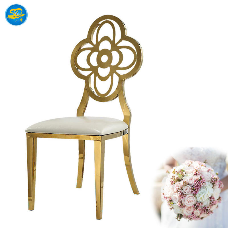 FLOWER BACK DESIGN GOLDEN HOTEL EVENT PARTY STAINLESS STEEL CHAIR YS-014