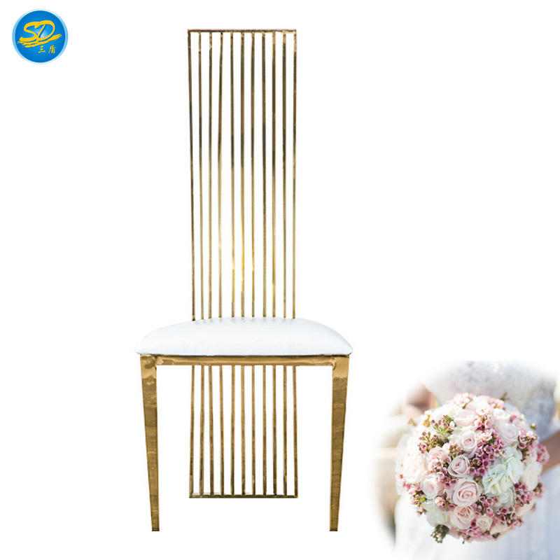HIGH BACK DESIGN EVENT PARTY RENTAL GOLDEN STAINLESS STEEL CHAIR  YS-017