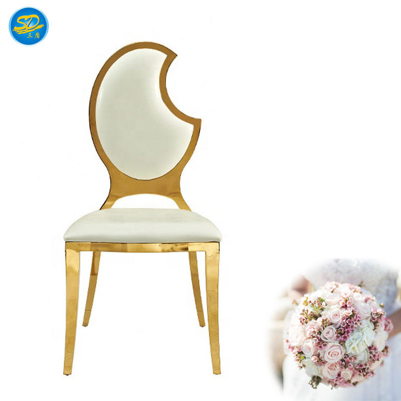 MOON BACK DESIGN STAINLESS STEEL BANQUET WEDDING DECORATION CHAIR YS-018