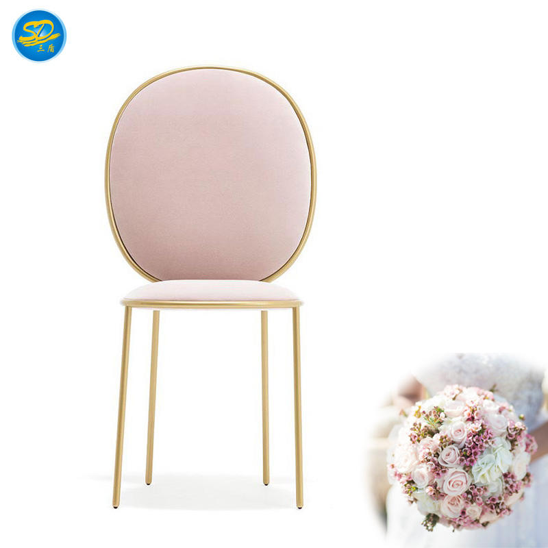 PINK VELVET THEME RESTAURANT WEDDING PARTY STAINLESS STEEL CHAIR YS-024