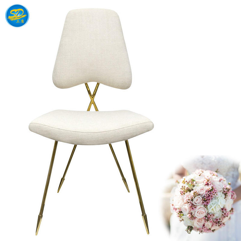 UNIQUE DESIGN WHITE LEATHER STAINLESS STEEL STACKING CHAIR YS-026