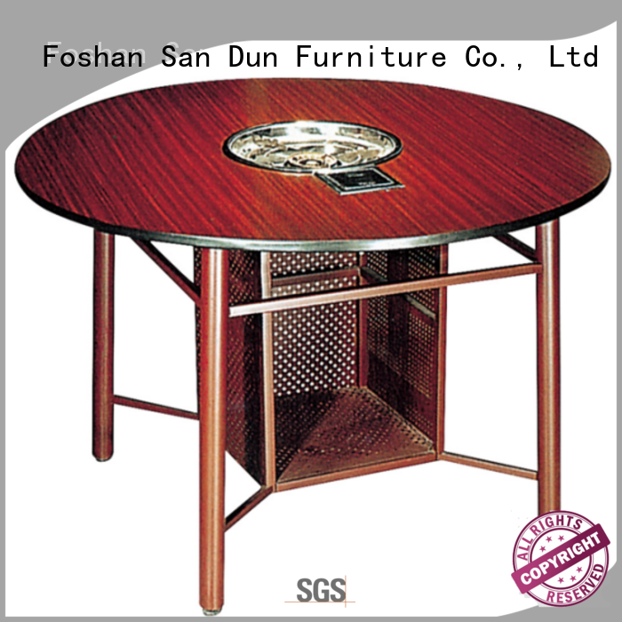 Strong Steel Frame Laminate Hotel Banquet Restaurant Round  Hot Pot Table YF-017-2